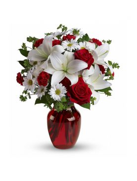 Glass Vase with Red and White Roses